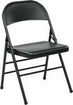Work Smart Folding Chair with Metal Seat and Back - Set of 4 - Black [FF-22324M-OS]
