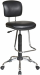 Work Smart Chrome Finish Economical Armless Chair with Chrome Teardrop Footrest - Black [DC420V-3-FS-OS]