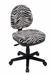 Work Smart Contemporary Armless Contour Padded Task Chair - Zebra Print [DH3400-237-FS-OS]