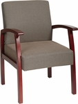 Work Smart Deluxe Guest Chair with Wood Base and Arms and Lumbar Support - Cherry [WD1357-FS-OS]