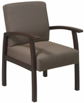 Work Smart Deluxe Guest Chair with Wood Base and Arms and Lumbar Support - Espresso [WD1358-FS-OS]