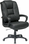 Work Smart Deluxe High Leather Chair with Padded Loop Arms - Black [EX5162-G13-FS-OS]