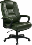Work Smart Deluxe High Leather Chair with Padded Loop Arms - Green [EX5162-G16-FS-OS]