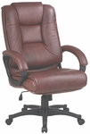 Work Smart Deluxe High Leather Chair with Padded Loop Arms - Saddle [EX5162-G8-FS-OS]