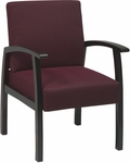 Work Smart Deluxe Guest Chair with Wood Base and Arms and Lumbar Support - Mahogany [WD1353-FS-OS]