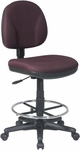 Work Smart Armless Drafting Chair with Adjustable Footring and Casters [DC630-FS-OS]