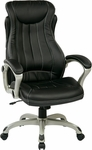 Work Smart Eco Leather Executive Manger's Chair with Lumbar Support and Padded Loop Arms - Black [ECH31826-EC3-FS-OS]