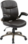Work Smart Executive Mid Back Eco Leather Chair with Adjustable Padded Flip Arms and Cocoa Finish Base - Espresso [ECH37811-EC1-FS-OS]