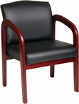 Work Smart Thick Padded Faux Leather Visitors Chair with Lumbar Support - Cherry [WD387-U6-FS-OS]