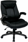 Work Smart Faux Leather Mid Back Managers Chair with Padded Flip Arms - Black [FLH24987-U6-FS-OS]