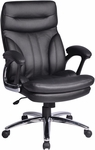 Work Smart High Back Executive Faux Leather Chair with Padded Arms and Chrome Finished Base - Black [FL2604C-U6-FS-OS]