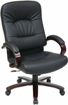 Work Smart High Back Executive Leather Chair with Seat Height Adjustment and Padded Wood Arms - Mahogany [WD5330-EC3-FS-OS]