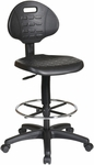 Work Smart Intermediate Drafting Chair with Adjustable Footrest and Dual Wheel Carpet Casters - Black [KH540-FS-OS]