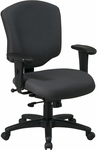 Work Smart Mid Back Upholstered Fabric Executive Chair with Adjustable Seat Height and Arms [41573-FS-OS]