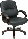 Work Smart Mid Back Executive Leather Chair with Padded Wood Arms and Casters - Mahogany [WD5331-EC3-FS-OS]