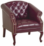 Work Smart Queen Ann Traditional l Button Tufted Vinyl Guest Chair with Mahogany Finish Legs - Oxblood [TSX1121-JT4-FS-OS]