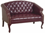 Work Smart Queen Ann Traditional Button Tufted Vinyl Loveseat with Mahogany Finish Legs - Oxblood [TSX1122-JT4-FS-OS]