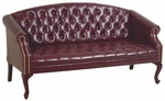 Work Smart Queen Ann Traditional Button Tufted Vinyl Sofa with Mahogany Finish Legs - Oxblood [TSX1123-JT4-FS-OS]