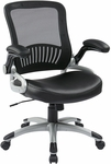 Work Smart Screen Back Eco Leather Seat Manager's Chair with 2-to-1 Synchro Tilt and Padded Flip Arms - Black [EM35206-EC3-FS-OS]