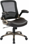 Work Smart Screen Back Eco Leather Seat Managers Chair With Padded Flip Up Arms - Espresso [EM35201-EC1-FS-OS]