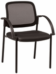 Work Smart Screen Back Faux Leather Seat Visitors Seat Chair with Arms - Black [183905-FS-OS]