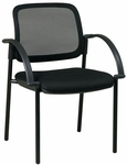 Work Smart Screen Back and Padded Mesh Seat Visitors Chair with Arms - Black [183305-FS-OS]