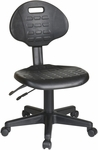Work Smart Self-Skinned Urethane Ergonomic Armless Task Chair with Seat Height Adjustment and Casters - Black [KH580-FS-OS]