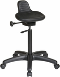 Work Smart Self-Skinned Urethane Saddle Seat Stool with Seat Height Adjustment - Black [KH206-FS-OS]