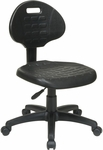 Work Smart Self-Skinned Urethane Armless Task Chair with Seat and Back Height Adjustment - Black [KH520-FS-OS]
