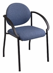 Work Smart Padded Black Frame Stack Chair with Arms [STC3410-OS]