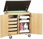 Write-N-Roll Mobile Science Lab Locking Unit with 3 Sliding Drawers and 5 Tan Fiberglass Tote Trays - 36''W x 24''D x 36''H [4901K-DW]