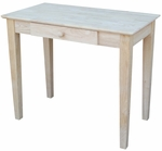 Solid Parawood 36''W X 30''H Home Office Writing Table with Drawer - Unfinished [OF-695249-FS-WHT]