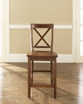 X-Back Bar Stool in Classic Cherry Finish with 24'' Seat Height - Set of 2 [CF500424-CH-FS-CRO]