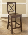 X-Back Bar Stool in Vintage Mahogany Finish with 24'' Seat Height - Set of 2 [CF500424-MA-FS-CRO]