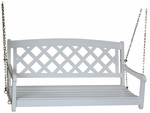 Outdoor Solid Wood 45.6''W X 21''H X-Back Swing with Chains - White [SW-54213-FS-WHT]