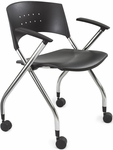Xtc.® 24'' W x 21.5'' D x 30.25'' H Nesting Chair - Set of Two - Black [3480BL-SAF]