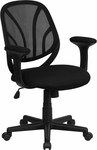 Y-GO Chair™ Mid-Back Black Mesh Swivel Task Chair with Arms [GO-WY-05-A-GG]