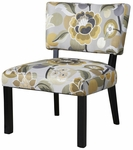 Yellow & Gray Floral Accent Chair [383-631-FS-PO]