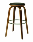 Yohkoh 26'' Swivel Barstool - Chrome/Walnut Veneer Finish and Black Upholstery [YH-215-26-CH-WA-979-FS-PSTL]