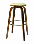 Yohkoh 30'' Swivel Barstool - Chrome/Walnut Veneer Finish and Ivory Upholstery [YH-215-30-CH-WA-978-FS-PSTL]