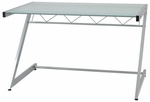 Z Deluxe Medium Desk with Shelf in Aluminum [27401-FS-ERS]