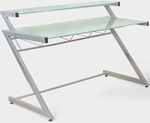 Z Deluxe Small Desk with Shelf in Aluminum [27400-FS-ERS]