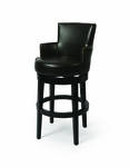 Zadar 30'' Swivel Barstool - Feher Black Finish and Leather Brown Upholstery [QLZA227227867-FS-PSTL]