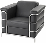 Zia Leather Lounge Chair with Polished Chrome Frame - Black [CLL-1-1770BK-FS-CPL]