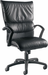 Carrara 300 lb. Capacity High Back Swivel Chair with Black Poly Arms - Leather Upholstery [92D13-LEA-FS-LZBF]