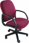 Durable 300 lb. Capacity Mid - Back Swivel Chair with Swivel Tilt - Leather Upholstery [92255-LEA-FS-LZBF]