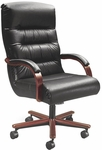 Horizon 300 lb. Capacity High Back Swivel Chair with Mid - Pivot Tilt - Leather Upholstery [92123-LEA-FS-LZBF]