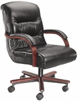 Horizon 300 lb. Capacity Mid - Back Swivel Chair with Mid - Pivot Tilt - Leather Upholstery [92120-LEA-FS-LZBF]