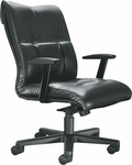 Orians 350 lb. Capacity Mid - Back Swivel Chair with Urethane Arm Pads - Leather Upholstery [92D80-LEA-FS-LZBF]