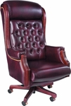 Presidential 300 lb. Capacity High Back Wood Trim Swivel Chair with Tufted Back and Seat - Leather Upholstery [92213-LEA-FS-LZBF]
